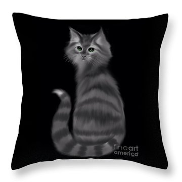 Throw Pillow featuring the painting Gray Striped Cat by Nick Gustafson