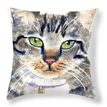 Gray Tabby Cat Watercolor Throw Pillow