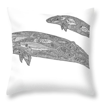 Gray Whale And Calf Throw Pillow by Carol Lynne