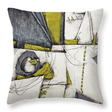 Gray, White, Green Gold  Throw Pillow