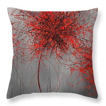 Throw Pillow featuring the painting Grayish Vibrant Blooms- Red And Gray Modern Art by Lourry Legarde