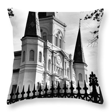 Grayscale St. Louis Cathedral Throw Pillow