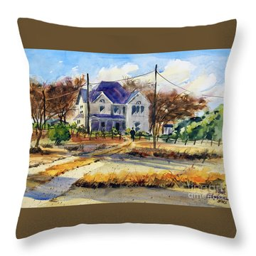 Throw Pillow featuring the painting Grayson County Farmhouse by Ron Stephens