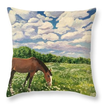 Grazing Among The Daisies Throw Pillow