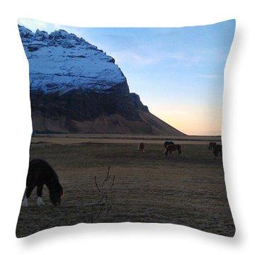 Grazing At Dawn Throw Pillow
