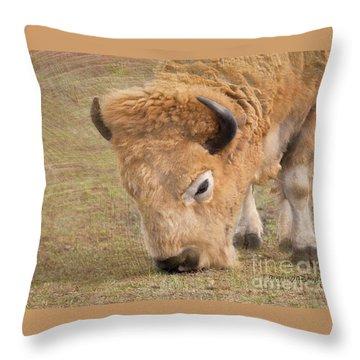 Grazing Buffalo Throw Pillow by Laurinda Bowling