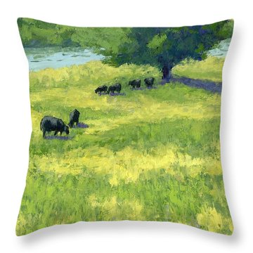 Grazing By The Bear River Throw Pillow