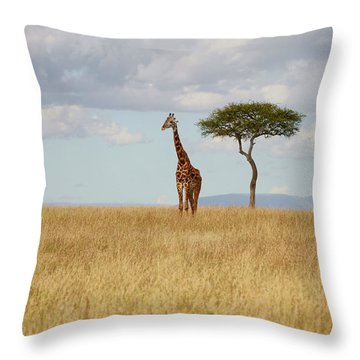 Grazing Giraffe Throw Pillow