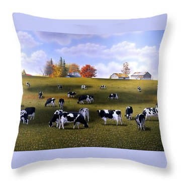 Grazing Holsteins Throw Pillow by Conrad Mieschke