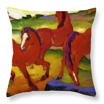 Grazing Horses Iv The Red Horses 1911 Throw Pillow