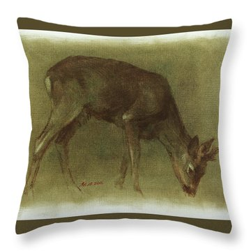 Grazing Roe Deer Oil Painting Throw Pillow