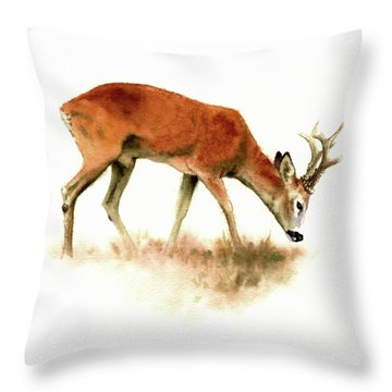 Grazing Roebuck Watercolor Throw Pillow