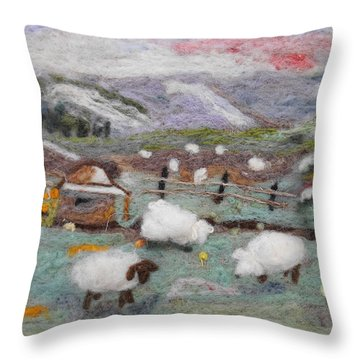 Grazing Woolies Throw Pillow