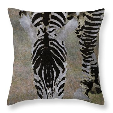 Throw Pillow featuring the digital art Grazing Zebra by Jean Moore
