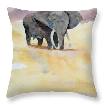 Throw Pillow featuring the painting Great African Elephant  by Vicki  Housel