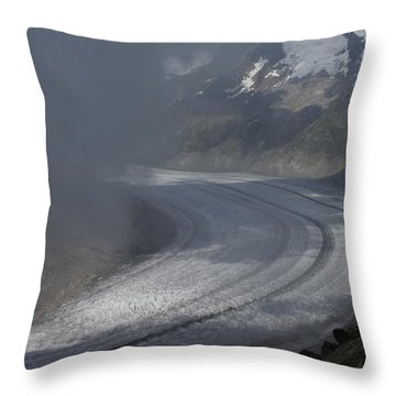 Great Aletsch Glacier In The Clouds. Canton Of Valais, Switzerland. Throw Pillow