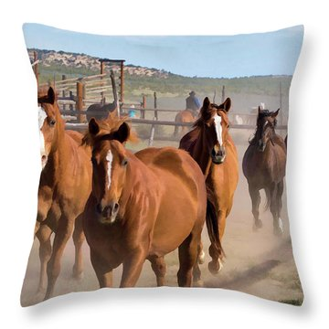Great American Horse Drive - Coming Into The Corrals Throw Pillow