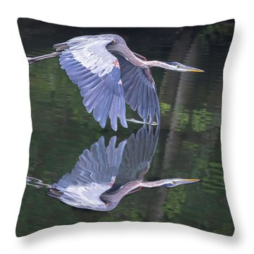 Great Blue Heron 01 Throw Pillow