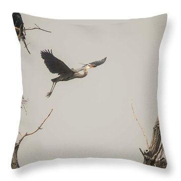 Throw Pillow featuring the photograph Great Blue Heron - 6 by David Bearden