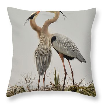 Great Blue Heron Affection Throw Pillow