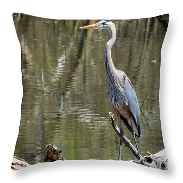 Throw Pillow featuring the photograph Great Blue Heron At Johnson Park by Ricky L Jones