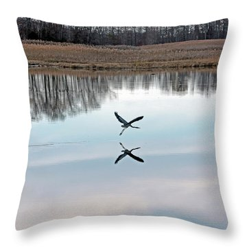 Great Blue Heron At Take-off Throw Pillow