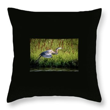 Great Blue Heron Throw Pillow by Cathy Cooley