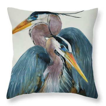 Throw Pillow featuring the mixed media Great Blue Heron Couple by Jani Freimann