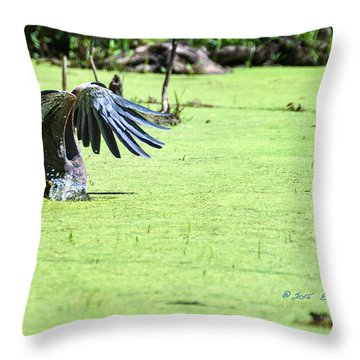 Great Blue Heron Dunk Throw Pillow by Edward Peterson