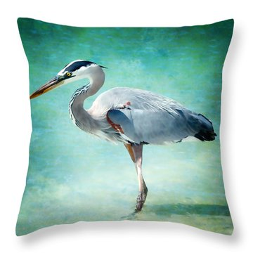 Great Blue Heron Throw Pillow by Ellen Heaverlo