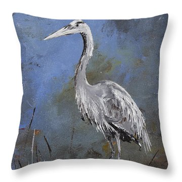 Great Blue Heron In Blue Throw Pillow