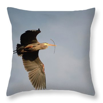 Throw Pillow featuring the photograph Great Blue Heron In Flight by Ann Bridges