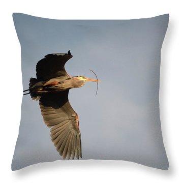 Great Blue Heron In Flight Throw Pillow by Ann Bridges