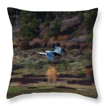 Great Blue Heron In Flight II Throw Pillow