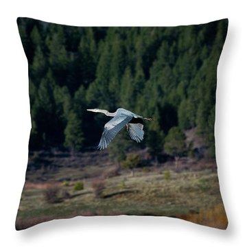 Great Blue Heron In Flight Throw Pillow
