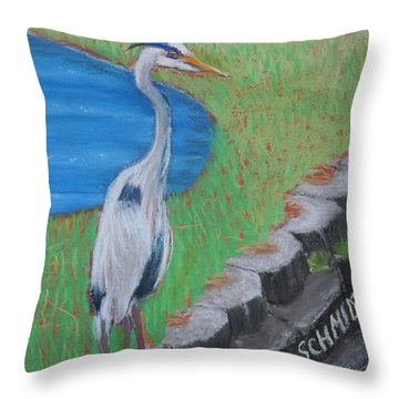 Great Blue Heron In Front Of Orchard Throw Pillow