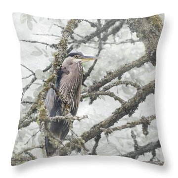 Throw Pillow featuring the photograph Great Blue Heron In Tree by Angie Vogel