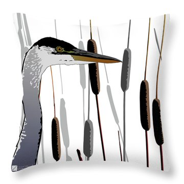 Great Blue Heron - Light Background Throw Pillow