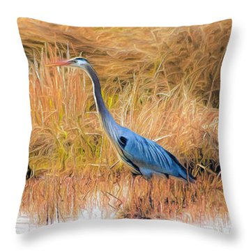 Great Blue Heron Throw Pillow by Marion Johnson