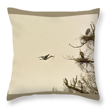 Great Blue Heron Nest Building Throw Pillow