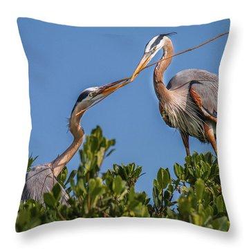 Great Blue Heron Nest Building Throw Pillow