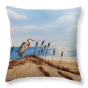 Great Blue Heron - Outer Banks Throw Pillow