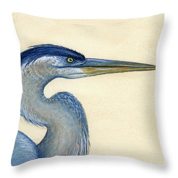Great Blue Heron Portrait Throw Pillow by Charles Harden