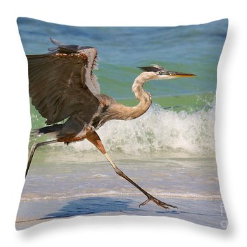 Great Blue Heron Running In The Surf Throw Pillow by Myrna Bradshaw