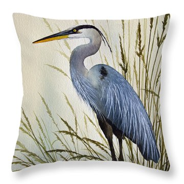 Great Blue Heron Shore Throw Pillow by James Williamson