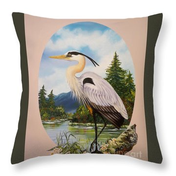 Flying Lamb Productions                 Great Blue Heron Throw Pillow