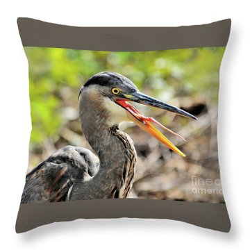 Great Blue Heron Tongue Throw Pillow by Debbie Stahre