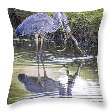Great Blue Heron Vs Huge Frog Throw Pillow
