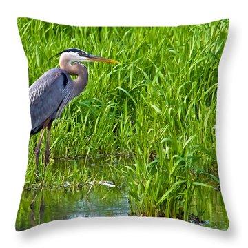 Great Blue Heron Waiting Throw Pillow
