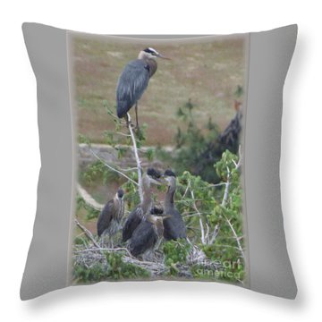 Great Blue Heron Watching Over Nest Throw Pillow